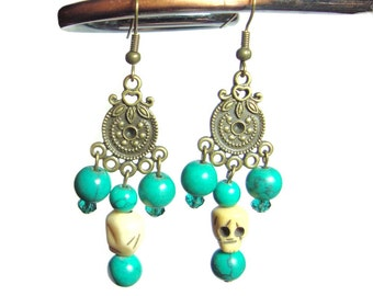 Turquoise beaded french hook earrings
