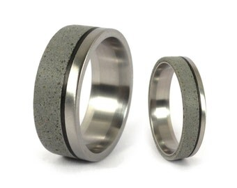 Marvelous Set Of Two Titanium And Grey Concrete Wedding Bands With Carbon Fiber  Inlay. Water Resistant