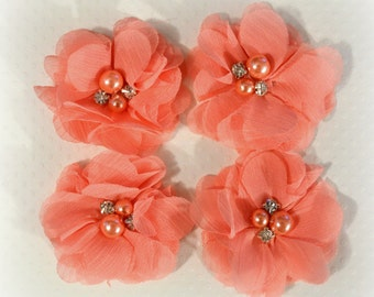 Coral Chiffon Flowers With Pearls and Glass Rhinestones--4 pcs. ASHA Collection