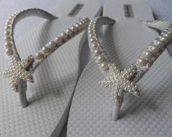 Bridal Ivory Flip Flops / Wedding Pearls Flip Flops / Starfish Rhinestone/Pearls Flip Flops / Bridesmaids Flip Flops / Bridal Sandals ...
