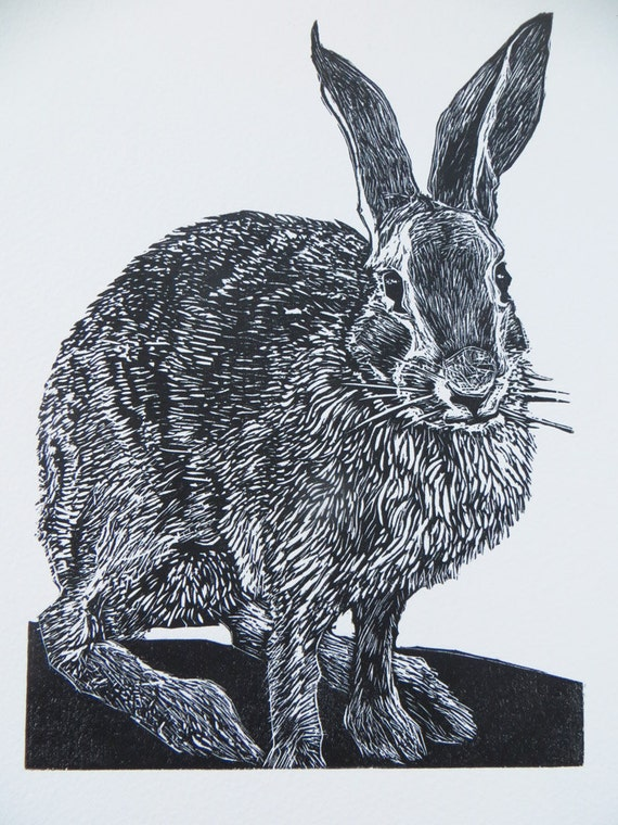 RESERVED for Katherine S.   Woodblock print: Mathews Rabbit