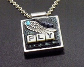 Take a Wing and Fly Epoxy Clay Necklace