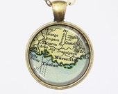 France Map Necklace -Marseille & Toulon, France- Vintage Map Series