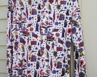 Vintage American theme shirt Jon Norman ala 1970s red white and blue