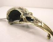 "4"" Huge Raven Skull Belt Buckle Brass"