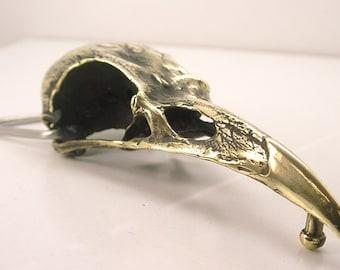"""4"""" Raven Skull Belt Buckle Brass"""
