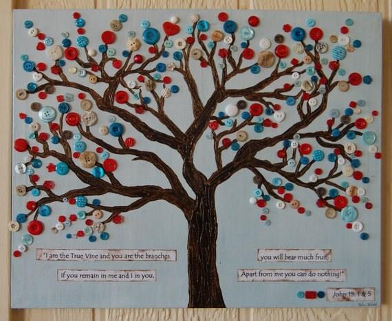 Button tree art christian art scripture wall hanging for Vine craft ideas