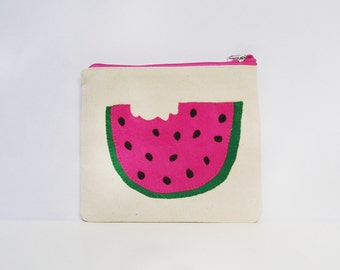 Canvas pouch appliqued with a watermelon slice pouch, summer fashion,handmade item, Zippered bag, Pencil case,