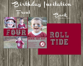 Alabama Crimson Tide Football Digital Birthday Invitation