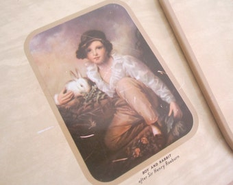 VINTAGE metal, cork coasters - Old Masters paintings, set of 6, Laughing Cavalier, Nell Gwynne