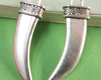 Elephant Teeth Charms -10pcs Antique Silver Large Tribal Animal Teeth Charm Pendants 14x40mm AA203-2