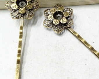10pcs Antique Bronze Flower Wrap Setting Bobby Hair Pin Metal Hair Clip F303-5