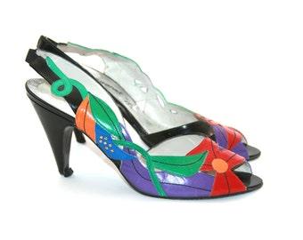 Margaret J Floral Leather Shoes SIze 7 Colorful