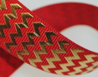"Gold Metallic Chevrons on Red 7/8"" Wide"