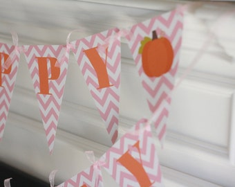 Happy Birthday Pennant Flag Orange & Pink Chevron Fall Harvest Little Pumpkin Thanksgiving Theme Banner - Ask About Our Party Pack Specials