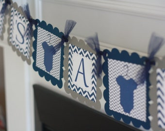 """Navy Blue and Grey Chevron - """"Its a Boy"""" Bodysuit One Piece Baby Shower Banner - Ask About Party Pack Specials"""