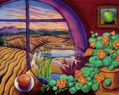 Summer Hayfields, Nasturtiums, Sunset, Fishbowl View - 2 sizes - Print