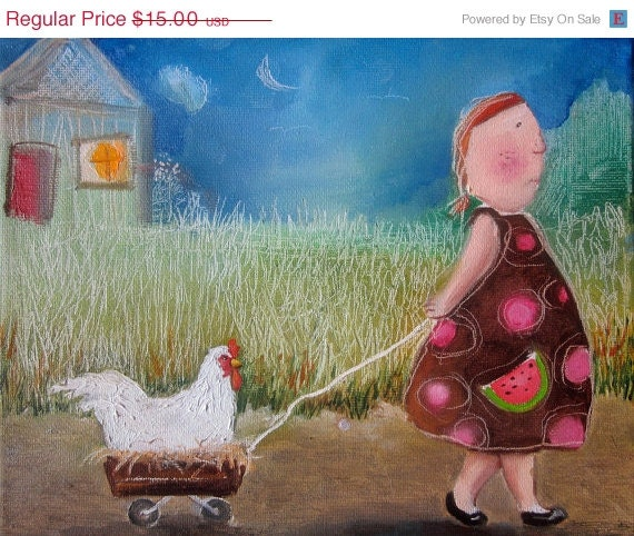 """For KIM- girl with chicken giclee  art print 6""""x8"""""""