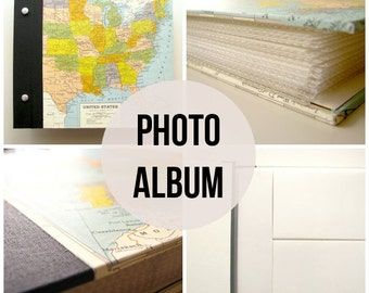 Travel Photo Album makes a great Honeymoon photo album or graduation gift. With plastic sleeves & vintage map of plus customization
