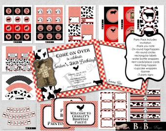 Farm Birthday- Red & Black- Whole Party Pack- PRINTABLE