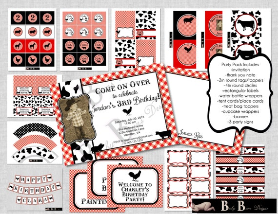 Farm Birthday- Red & Black- Whole Party Pack