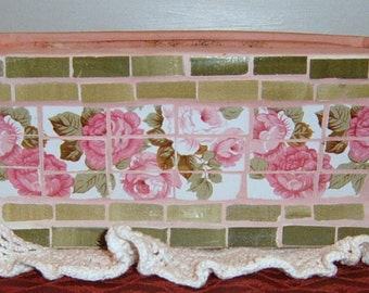 TAKE 40% Off,  Mosaic , Roses, Planter,, Shabby Chic,  Pink Roses, Terracotta planter, Cottage,