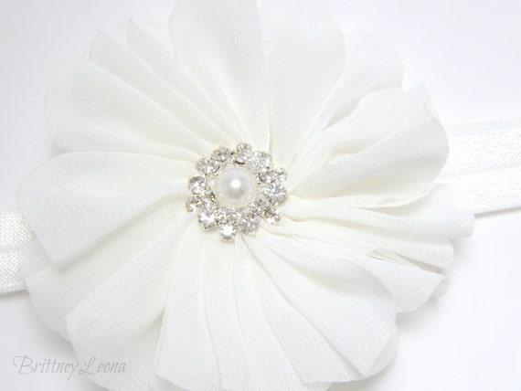 Faith- White Organza Fabric Flower Elastic Headband