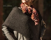 Hand Knit Convertible Poncho Wrap Shrug Scarf Shawl 4 in 1 Merino Wool