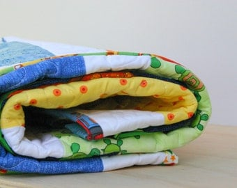 Half Price Discount - End of Line Item - Baby Boy Quilt or Toddler Quilt - Crib Quilt - Discontinued Discount Item