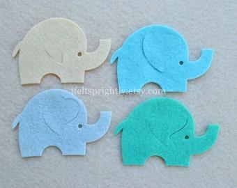 8 Piece Die Cut WOOL Blend Felt Elephants, Baby Boy