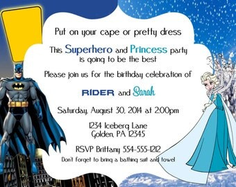 Batman Frozen Birthday Invitation