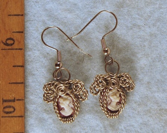Vintage Cameo Wire Wrapped Earrings