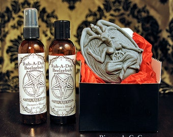 Bubble Baphomet Soap Body Oil and Body Spray Gift Set (choose fragrance: Pumpkin Pie, lavender lemongrass, and more)