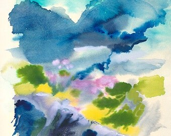Cliff Watercolor Original Abstract  16 inches by 22 1/2 inches Giclee Print Blues Yellows and Pink