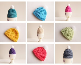 Coloured Egg Beanies, Four Handmade Crochet Egg Cozies - Choose Your Colours