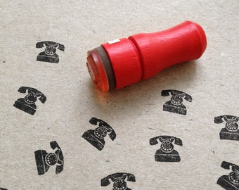 Mini Telephone Rubber Stamp Old Phone