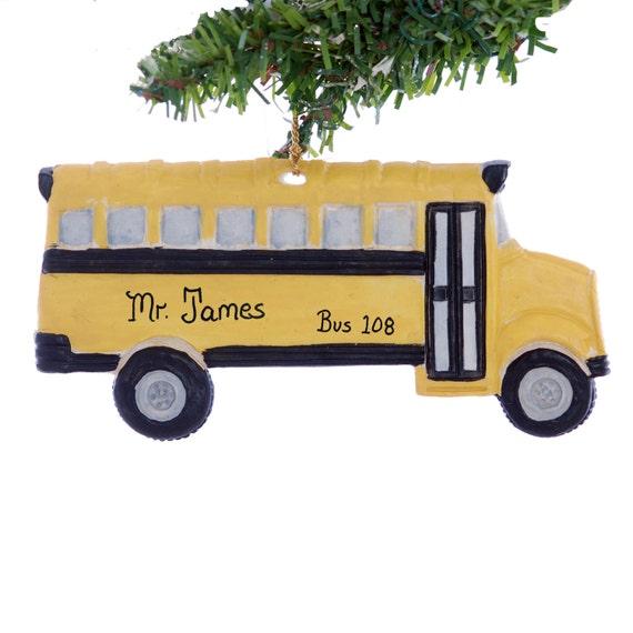 Personalized School bus ornament Yellow school bus Christmas
