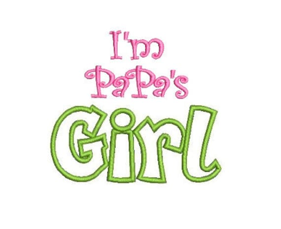Papa's Girl Embroidery Design, Grandparent Design, Girl Embroidery (509) Instant Download