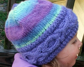 "PDF Pattern - ""Lovely"" Knitted Cabled Brim Beanie Toque Hat - Fully Adjustable Knitting Pattern for Handspun Yarn - Instant Download"