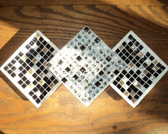3 Vintage Mosaic Tiled Trays, A Junior Achievement Company product, Black, White, Grey and Gold Ceramic Tiles set in Gold Aluminum