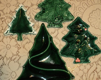 OH CHRISTMAS TREES!  How lovely a collection.  4 pieces of Green Glazed Ceramic shaped Trees of varying sizes and shapes in Near Mint Shape