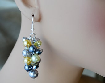 Grays and Yellows Cluster Earrings, Pearl Cluster Earrings, Pearl and Crystal Jewelry, Bridesmaid Earrings, Chunky Earrings, Pearl Jewelry