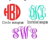 Vinyl Car Decal PICK A STYLE Monogram Sticker Many Color Choices