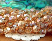 2 Strands ~ 50 Pieces 6mm Fire Polished, Czech Glass Beads, Firepolished Beads, Crystal Celsian, Faceted Beads, Glass Beads CZ-347