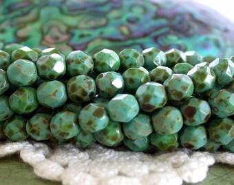 Czech Glass Fire Polished Beads, Czech Glass Beads, Faceted Glass Beads, 6mm Firepolished Beads  CZ-125
