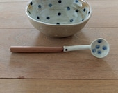 hand paint unique polka dot ceramic spoon with wood handle handmade indigo and white