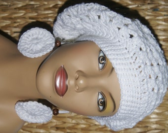 Crochet Tam with Matching Earrings- All White  Made To Order