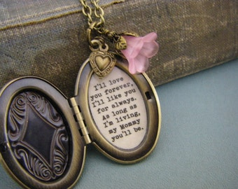 I'll Love You Forever I'll Like You For Always Mommy Locket Brass Womens Locket Quote Locket