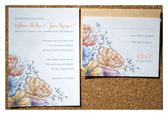 Vintage Flower Watercolor Wedding Invitation - Watercolor Flower Wedding Invite - Flowers and Watercolor Wedding Invitations