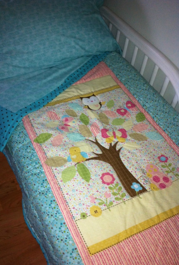 """Owl Toddler Quilt - Aqua, Pink and Brown Quilt 49""""x40"""" Toddler Sheets Available Extra - READY TO SHIP"""